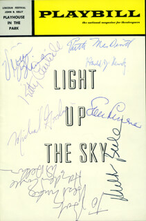 LIGHT UP THE SKY PLAY CAST - INSCRIBED SHOW BILL SIGNED CO-SIGNED BY: SAM LEVENE, MILTON BERLE, KITTY CARLISLE, RUTH MCDEVITT, MICHAEL GOODWIN, HAROLD J. KENNEDY, VIVIAN BLAINE, HAYDEN RORKE
