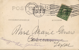 MARIE GENARO - PICTURE POST CARD SIGNED CIRCA 1909
