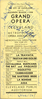 ERICH LEINSDORF - PROGRAM SIGNED CO-SIGNED BY: LAURITZ MELCHIOR, EMANUEL LIST, RICHARD BONELLI, WILFRID PELLETIER, PIETRO CIMARA, GEORGE CEHANOVSKY, FAUSTO CLEVA, CARLO TAGLIABUE, ETTORE (HECTOR) PANIZZA, MARITA FARRELL, AMRI GALLI-CAMPI, BRUNA CASTAGNA, LUCIELLE BROWNING