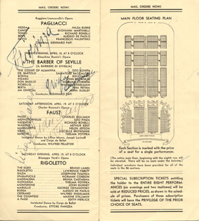 EZIO PINZA - PROGRAM SIGNED CIRCA 1941 CO-SIGNED BY: EDWARD P. JOHNSON, LICIA ALBANESE, LEONARD WARREN, BIDU SAYAO, NORMAN CORDON, SALVATORE BACCALONI, ETTORE (HECTOR) PANIZZA, WILFRED ENGLEMAN