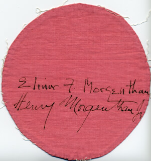 Autographs: HENRY MORGENTHAU JR. - EPHEMERA SIGNED CO-SIGNED BY: ELINOR F. MORGENTHAU