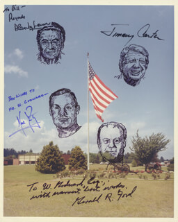 Autographs: PRESIDENT JAMES E. JIMMY CARTER - INSCRIBED ORIGINAL ART SIGNED CO-SIGNED BY: ALAN JAY LERNER, NEIL ARMSTRONG, PRESIDENT GERALD R. FORD