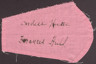 Autographs: CORDELL HULL - EPHEMERA SIGNED CO-SIGNED BY: FRANCES HULL