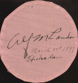 Autographs: GOVERNOR ALF M. (ALFRED) LANDON - EPHEMERA SIGNED 03/01/1937