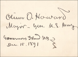 MAJOR GENERAL OLIVER O. HOWARD - AUTOGRAPH 12/15/1891