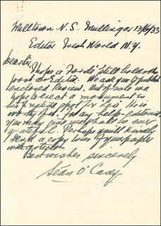 SEAN O'CASEY - AUTOGRAPH LETTER SIGNED 06/13/1933
