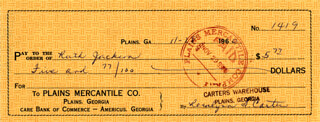 FIRST LADY ROSALYNN CARTER - AUTOGRAPHED SIGNED CHECK 11/28/1960