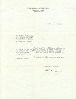 Autographs: REAR ADMIRAL RICHARD E. BYRD - TYPED LETTER SIGNED 06/25/1928