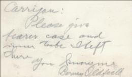 BARNEY OLDFIELD - AUTOGRAPH NOTE SIGNED