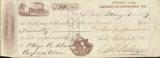 Autographs: MAJOR GENERAL DANIEL BUTTERFIELD - CHECK SIGNED 05/01/1859