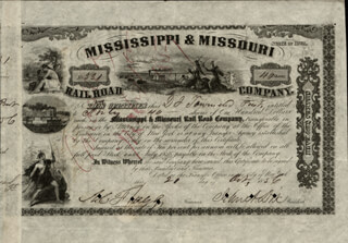MAJOR GENERAL JOHN A. DIX - STOCK CERTIFICATE SIGNED 10/21/1856 CO-SIGNED BY: AZARIAH C. FLAGG