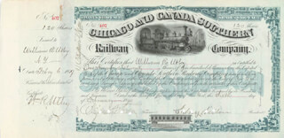 SIDNEY DILLON - STOCK CERTIFICATE SIGNED 02/06/1879