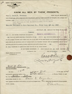 ASSOCIATE JUSTICE LOUIS D. BRANDEIS - DOCUMENT SIGNED 10/14/1924