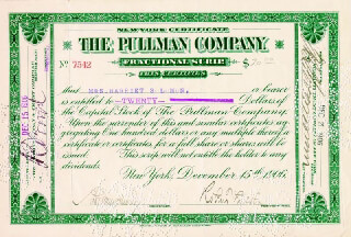 Autographs: ROBERT TODD LINCOLN - STOCK CERTIFICATE SIGNED 12/15/1906