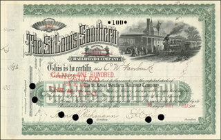VICE PRESIDENT CHARLES W. FAIRBANKS - STOCK CERTIFICATE ENDORSED 10/30/1893