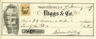 GIDEON WELLES - AUTOGRAPHED SIGNED CHECK 01/09/1869 CO-SIGNED BY: WILLIAM W. CORCORAN