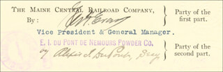 Autographs: ALEXIS I. du PONT - DOCUMENT SIGNED 10/23/1907
