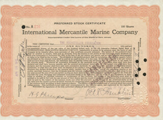 PHILIP A. S. FRANKLIN - STOCK CERTIFICATE SIGNED 04/20/1915 CO-SIGNED BY: A. J. LORING, H. G. PHILIPS