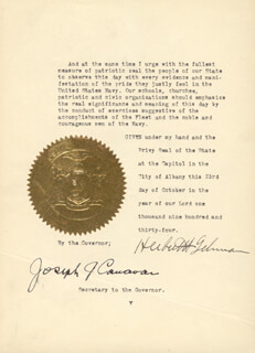 GOVERNOR HERBERT H. LEHMAN - PROCLAMATION SIGNED 10/23/1934 CO-SIGNED BY: JOSEPH J. CANAVAN