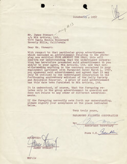 JAMES JIMMY STEWART - DOCUMENT SIGNED 10/25/1957