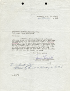JAMES JIMMY STEWART - DOCUMENT SIGNED 02/22/1954