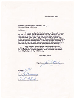 ABBOTT & COSTELLO (LOU COSTELLO) - DOCUMENT SIGNED 10/24/1947