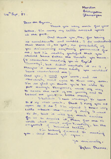 DYLAN THOMAS - AUTOGRAPH LETTER SIGNED 09/24/1937