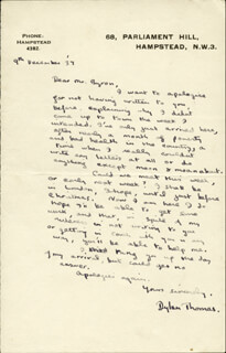 DYLAN THOMAS - AUTOGRAPH LETTER SIGNED 12/09/1937