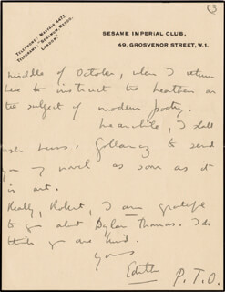 DAME EDITH SITWELL - AUTOGRAPH LETTER SIGNED