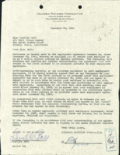 LUCILLE LUCY BALL - CONTRACT SIGNED 12/23/1948