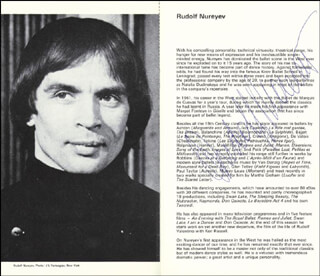 RUDOLF NUREYEV - PROGRAM SIGNED CIRCA 1976 CO-SIGNED BY: DANIEL LOMMEL