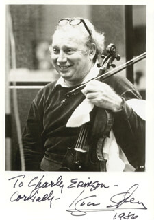 ISAAC STERN - AUTOGRAPHED INSCRIBED PHOTOGRAPH 1986