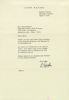 JOHN DUKE WAYNE - TYPED LETTER SIGNED 04/05/1972