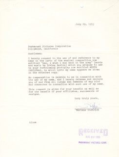 MARLENE DIETRICH - CONTRACT SIGNED 07/29/1953