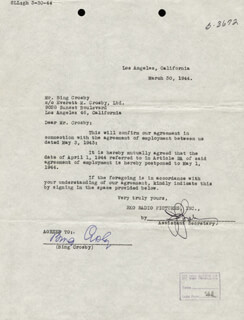 Autographs: BING CROSBY - CONTRACT SIGNED 03/30/1944