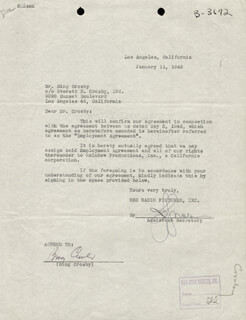 BING CROSBY - CONTRACT SIGNED 01/11/1945