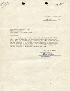 Autographs: FRED ASTAIRE - TYPED LETTER SIGNED 04/04/1949