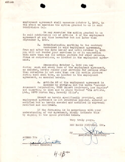 FRANK SINATRA - CONTRACT SIGNED 03/02/1945