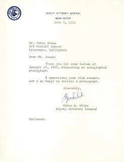 Autographs: ASSOCIATE JUSTICE BYRON R. WHITE - TYPED LETTER SIGNED 06/02/1961
