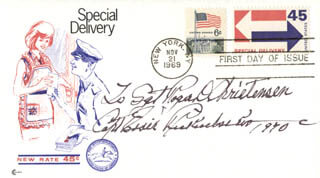 MAJOR EDWARD V. EDDIE RICKENBACKER - INSCRIBED FIRST DAY COVER SIGNED 1970