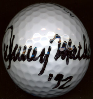 JOHNNY MATHIS - GOLF BALL SIGNED 1992