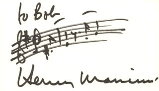 HENRY MANCINI - INSCRIBED AUTOGRAPH MUSICAL QUOTATION SIGNED