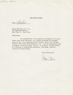 PETER NERO - DOCUMENT SIGNED 07/27/1962