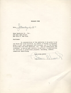 PATRICE MUNSEL - DOCUMENT SIGNED 01/16/1953
