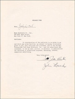 JOHN LUND - DOCUMENT SIGNED 07/06/1948