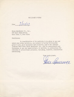 STEVE LAWRENCE - DOCUMENT SIGNED 09/24/1957
