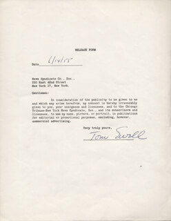 TOM EWELL - DOCUMENT SIGNED 06/14/1955