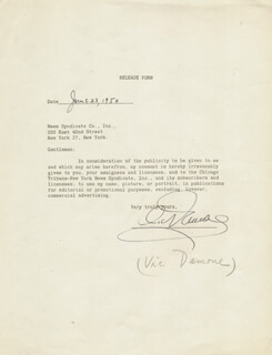 VIC DAMONE - ANNOTATED DOCUMENT SIGNED 06/23/1950