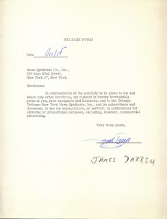 JAMES DARREN - DOCUMENT SIGNED 08/12/1958
