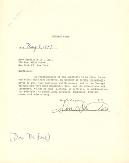 DON DEFORE - DOCUMENT SIGNED 05/06/1947